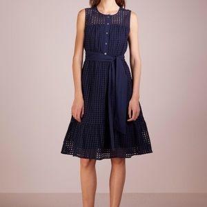 NWT J. Crew Navy Eyelet Sleeveless Cotton Dress 8